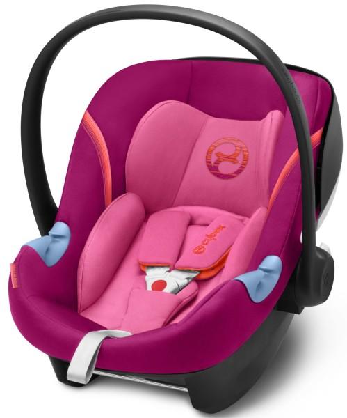 Cybex Aton M I-size Pink Purple Babyschale 45-87cm Test 1,6 passend für Base M