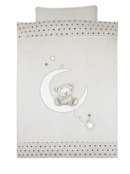 Alvi Bettwäsche Stickerei Stern grau-beige 100x 135