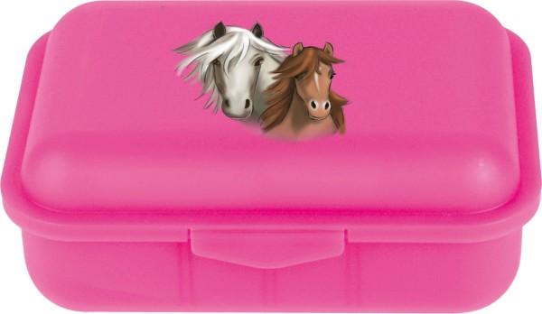 Pink farbene Brotdose für Kinder mit Pferde Aufdruck Horse II