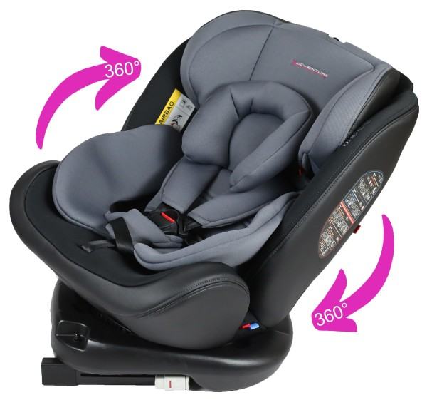 Kindersitz 0-36 KG Isofix 360 Grad drehbar X-Adventure Quickfix 9-36 KG grau